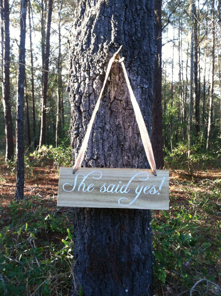 She said yes! Rustic wedding sign